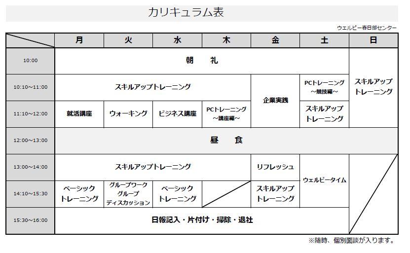 【春日部】カリキュラム表