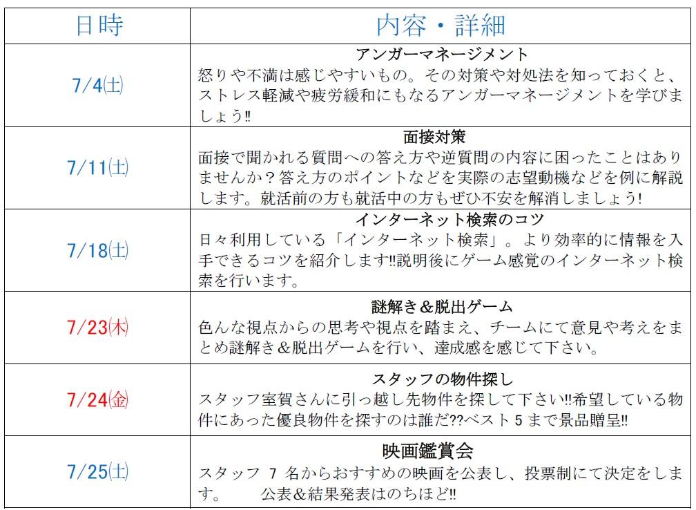 カリキュラム表