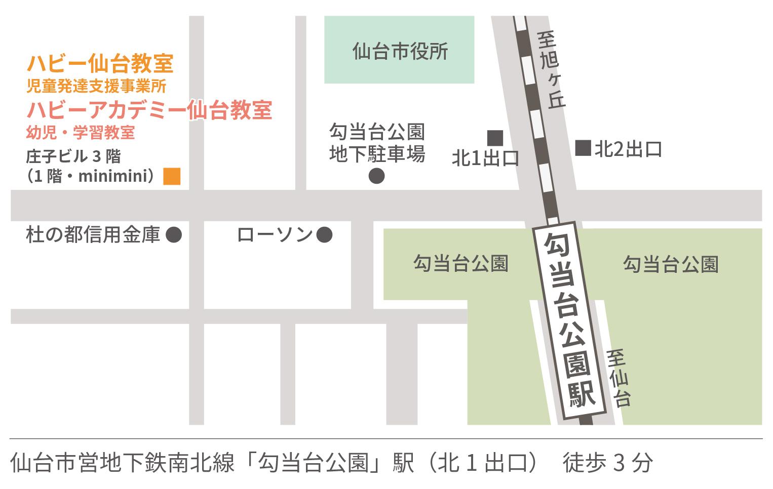 ハビーアカデミー仙台教室地図