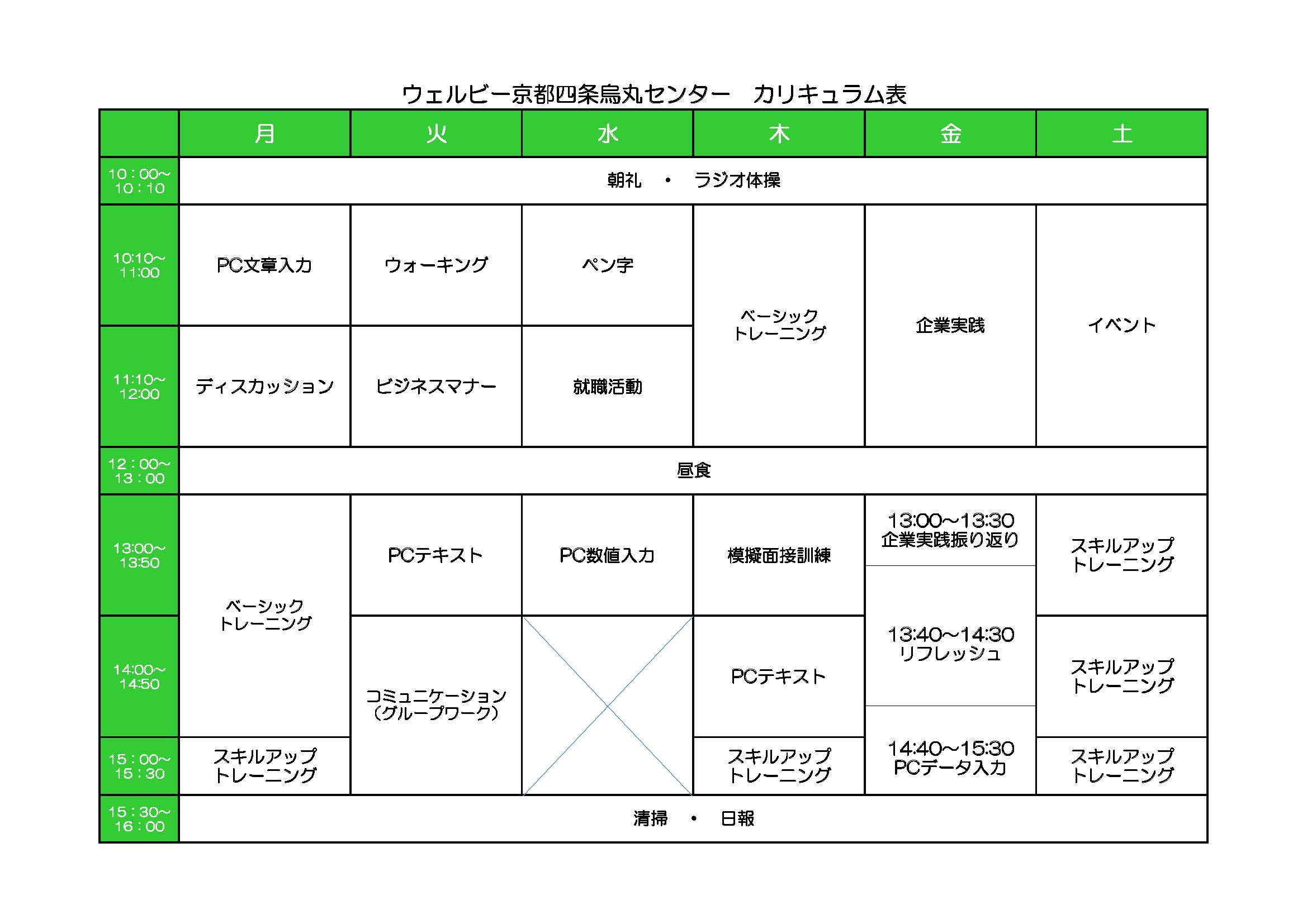 京都四条烏丸センター週間カリキュラム