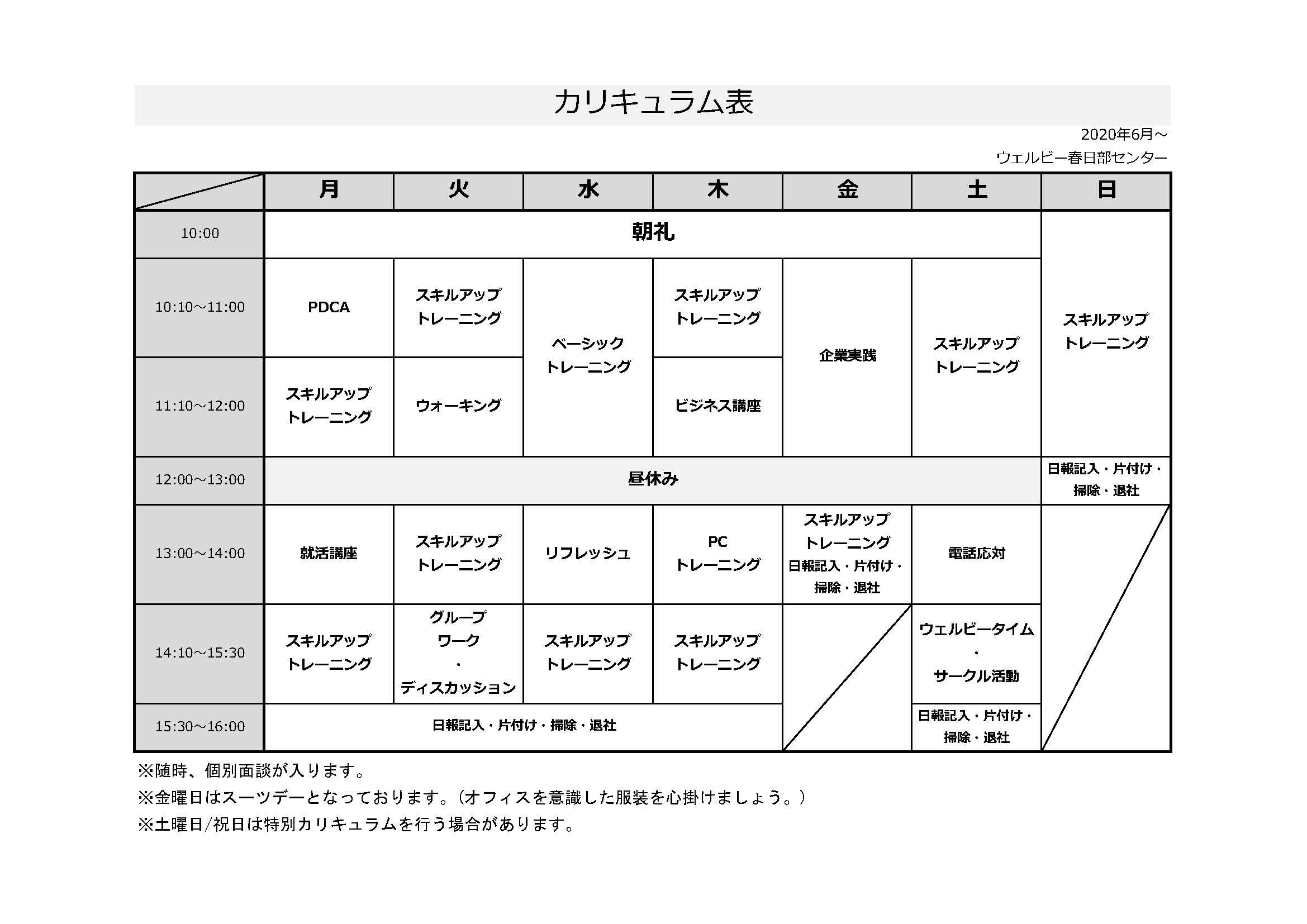 【ウェルビー春日部】カリキュラム表