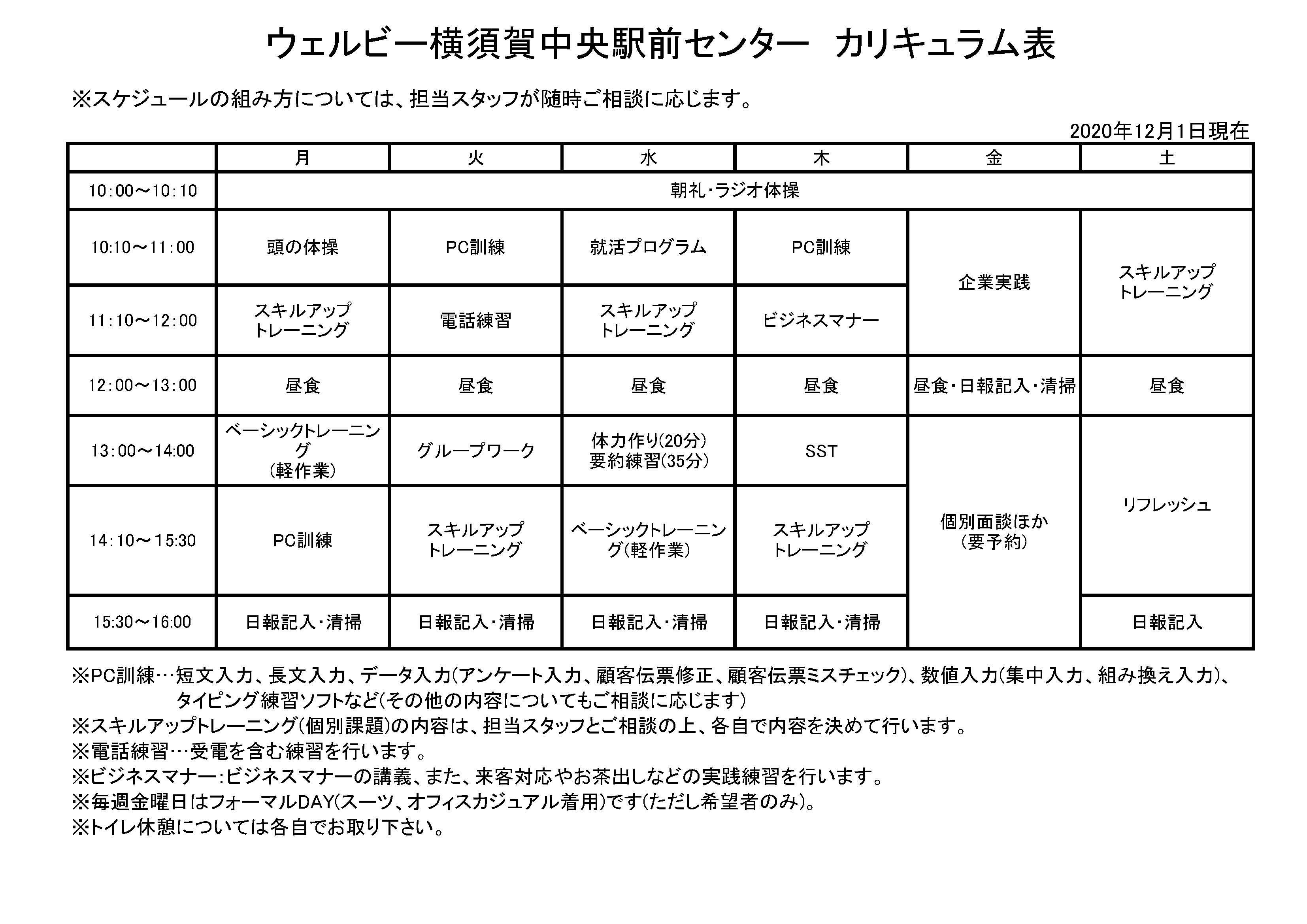 週間カリキュラム表(横須賀)