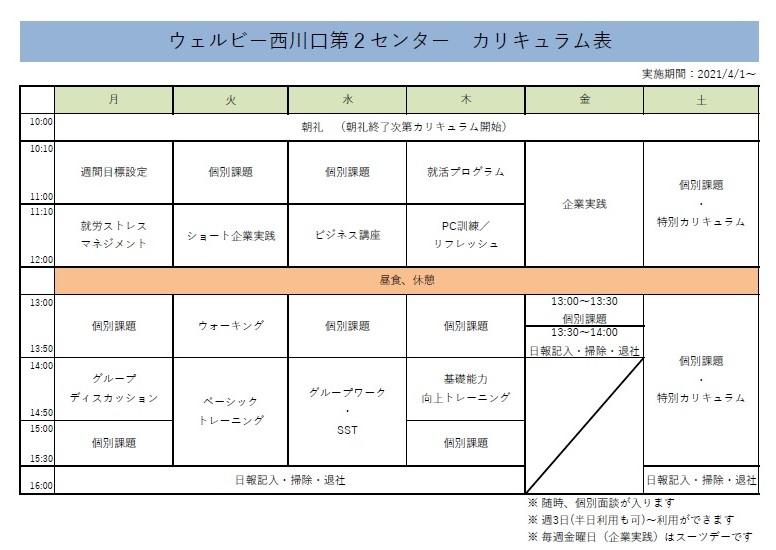【西川口第2】週間カリキュラム表