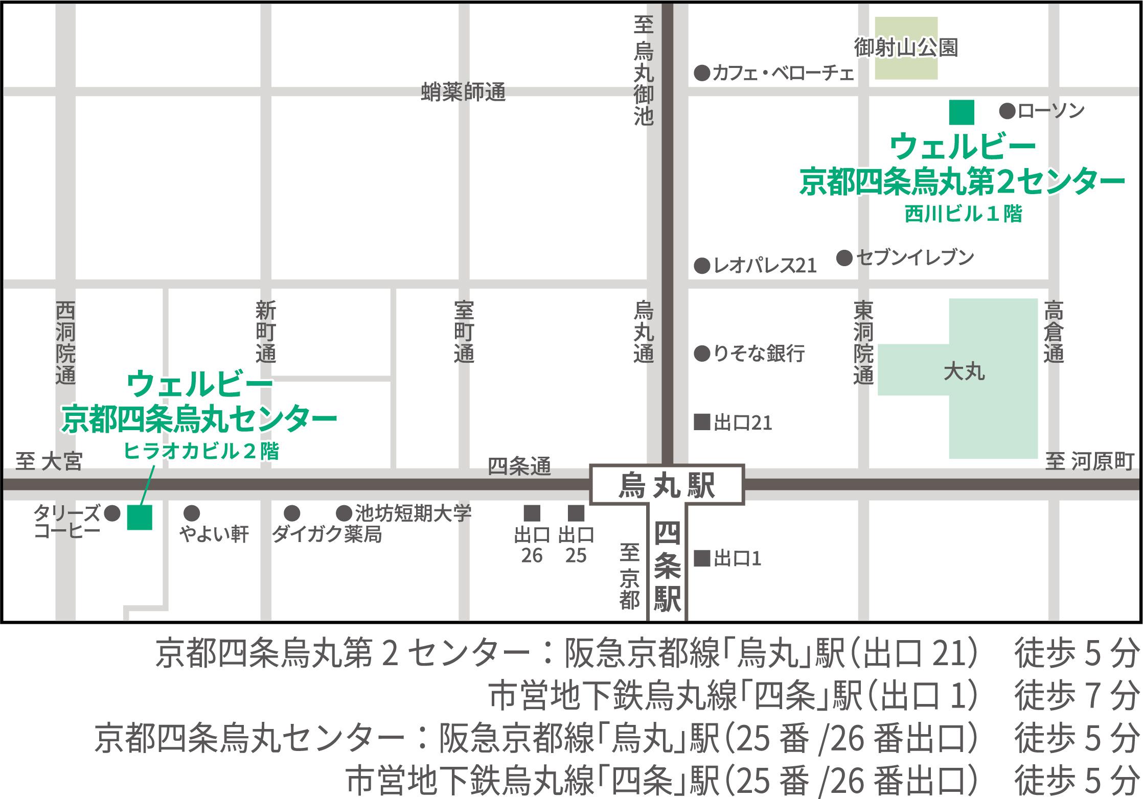 ウェルビー京都四条烏丸1・2地図